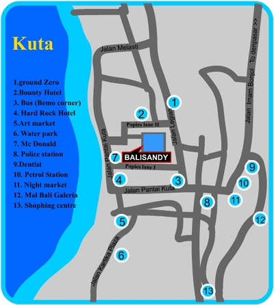 Bali Indonesia Hotels - Bali Sandy Cottage, Map
