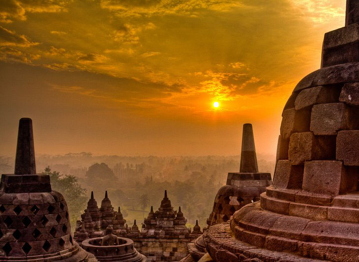 Borobudur Temple from Manohara Restaurant, solo-yogyakarta tour package featuring sunrise borobudur