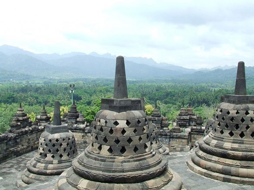 Borobudur stupas overlooking the mountain